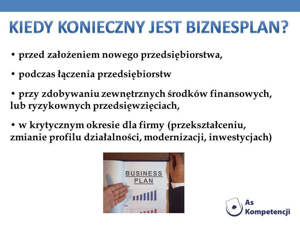 przed założeniem nowego przedsiębiorstwa, podczas łączenia przedsiębiorstw przy zdobywaniu zewnętrznych środków finansowych, lub ryzykownych przedsięwzięciach, w krytycznym okresie dla firmy (przekształceniu, zmianie profilu działalności, modernizacji, inwestycjach)