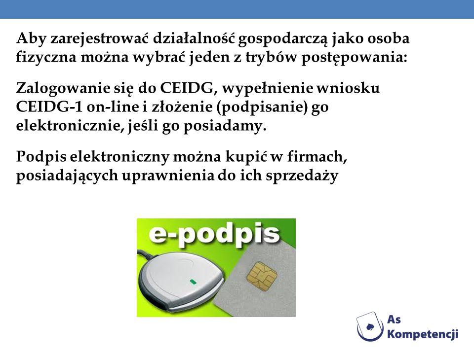 Aby zarejestrować działalność gospodarczą jako osoba fizyczna można wybrać jeden z trybów postępowania: Zalogowanie się do CEIDG, wypełnienie wniosku CEIDG-1 on-line i złożenie (podpisanie) go elektronicznie, jeśli go posiadamy.