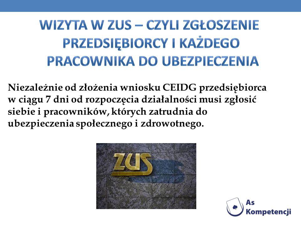 Niezależnie od złożenia wniosku CEIDG przedsiębiorca w ciągu 7 dni od rozpoczęcia działalności musi zgłosić siebie i pracowników, których zatrudnia do