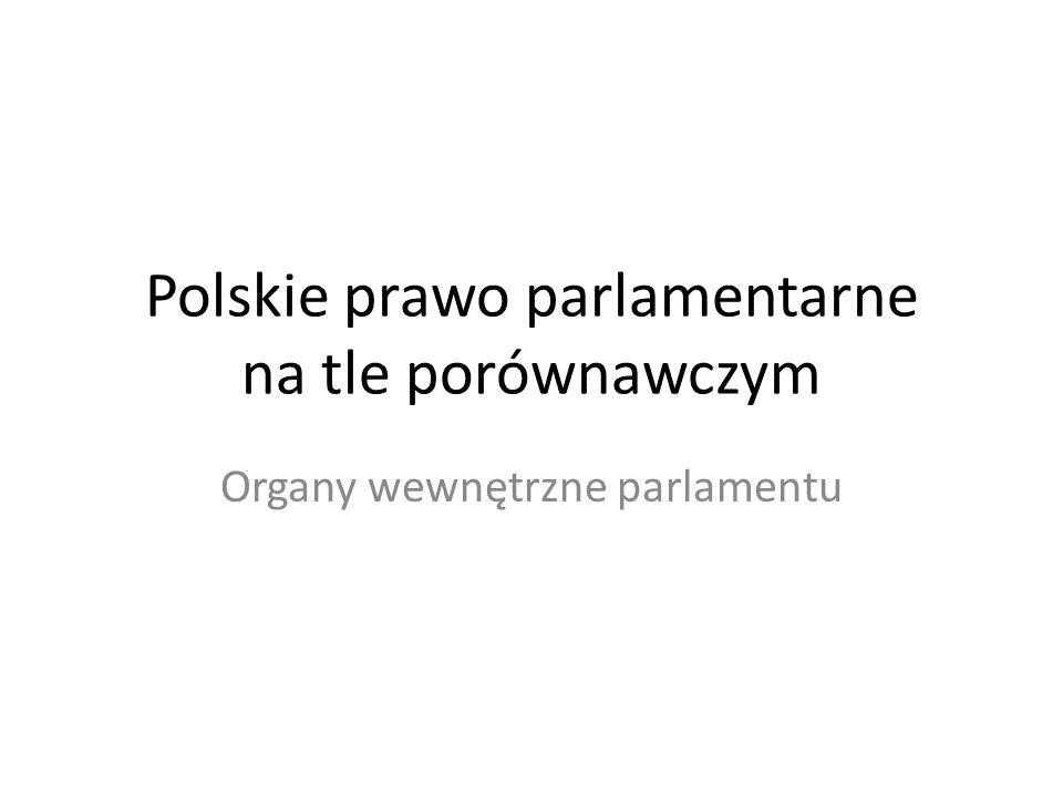 Polskie prawo parlamentarne na tle porównawczym Organy wewnętrzne parlamentu