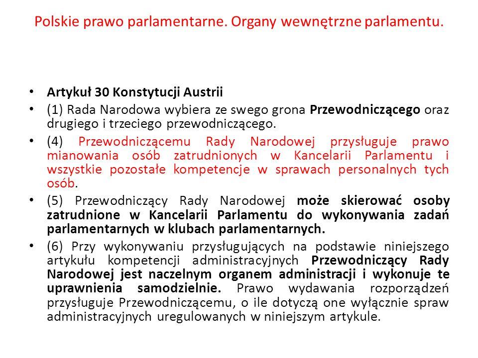 Polskie prawo parlamentarne. Organy wewnętrzne parlamentu. Artykuł 30 Konstytucji Austrii (1) Rada Narodowa wybiera ze swego grona Przewodniczącego or