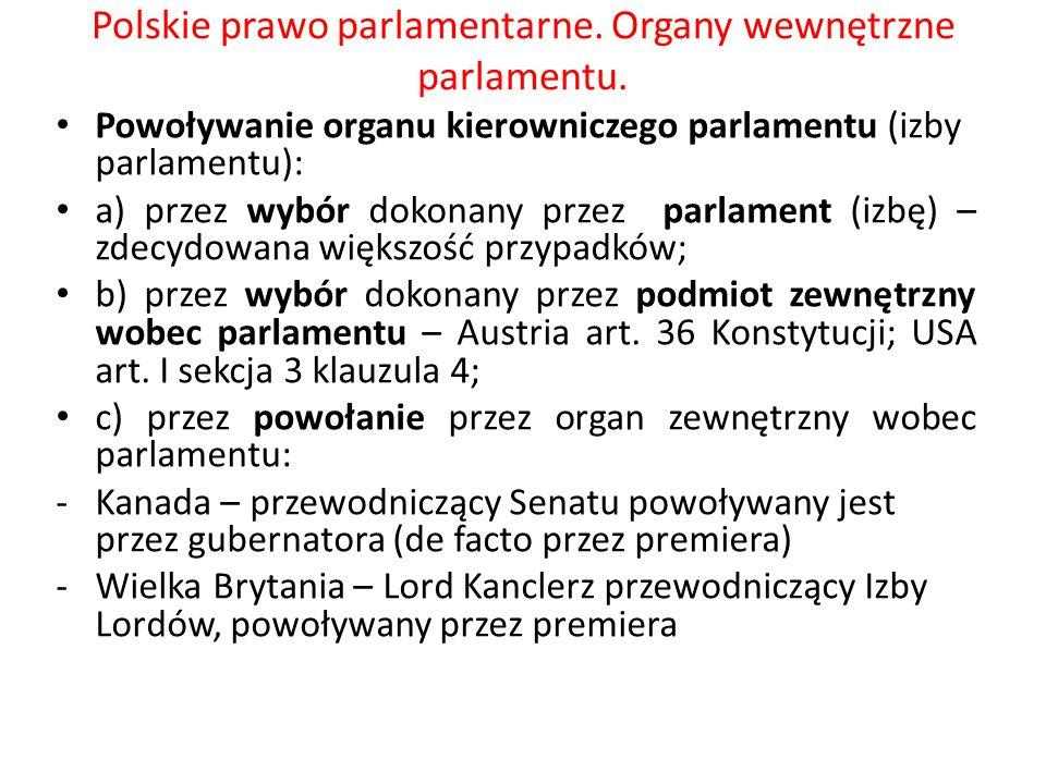 Polskie prawo parlamentarne. Organy wewnętrzne parlamentu. Powoływanie organu kierowniczego parlamentu (izby parlamentu): a) przez wybór dokonany prze
