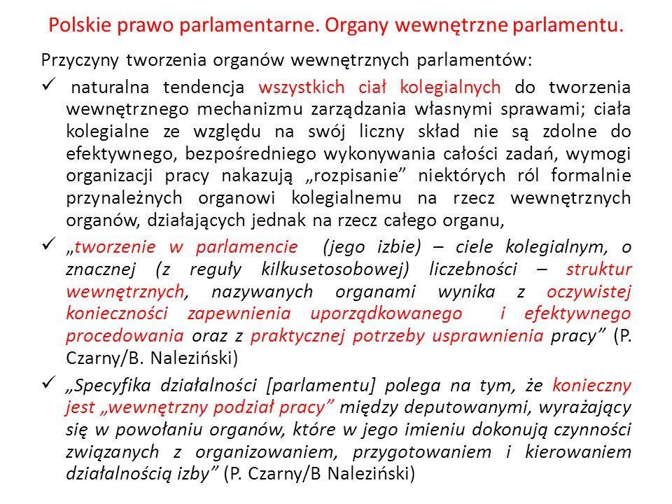 Polskie prawo parlamentarne. Organy wewnętrzne parlamentu. Przyczyny tworzenia organów wewnętrznych parlamentów: naturalna tendencja wszystkich ciał k