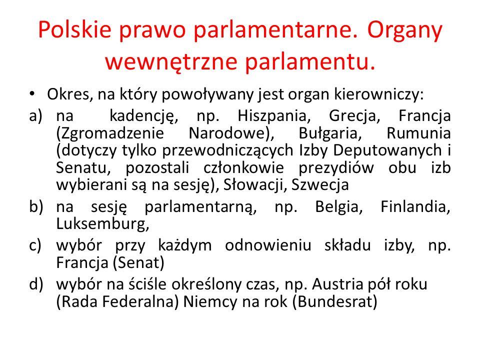 Polskie prawo parlamentarne. Organy wewnętrzne parlamentu. Okres, na który powoływany jest organ kierowniczy: a)na kadencję, np. Hiszpania, Grecja, Fr