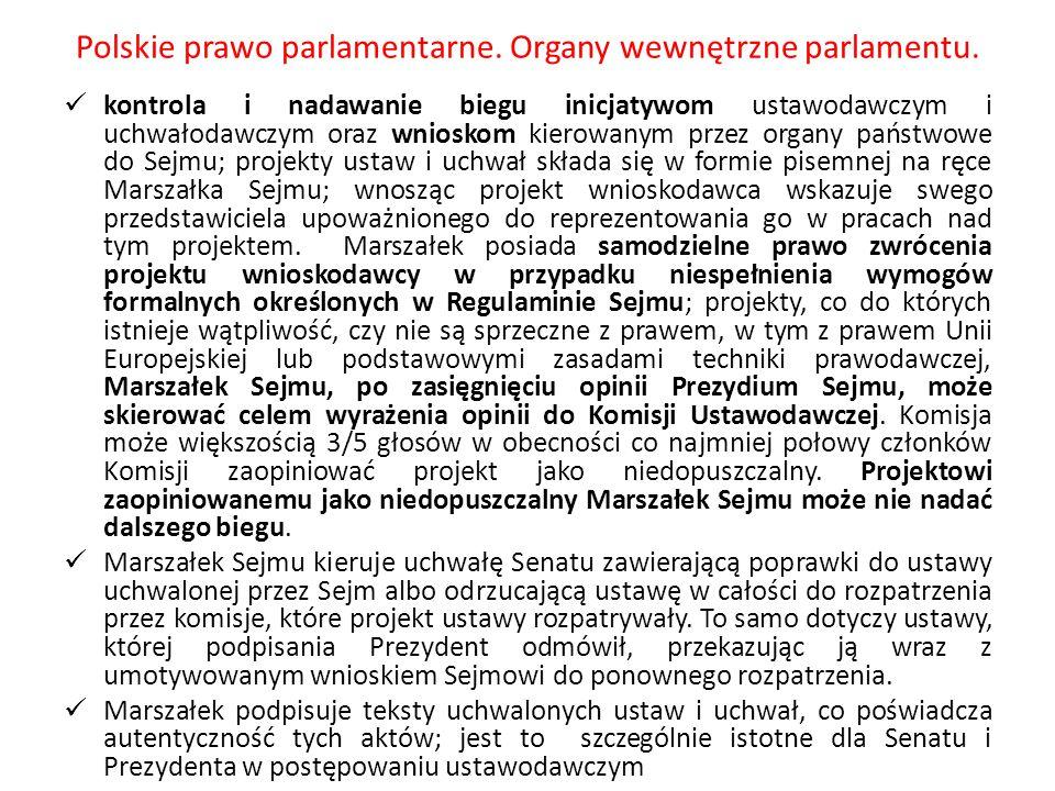 Polskie prawo parlamentarne. Organy wewnętrzne parlamentu. kontrola i nadawanie biegu inicjatywom ustawodawczym i uchwałodawczym oraz wnioskom kierowa