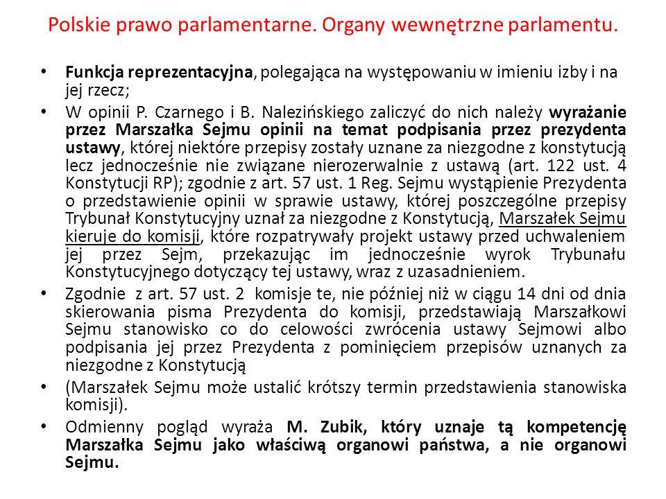Polskie prawo parlamentarne. Organy wewnętrzne parlamentu. Funkcja reprezentacyjna, polegająca na występowaniu w imieniu izby i na jej rzecz; W opinii