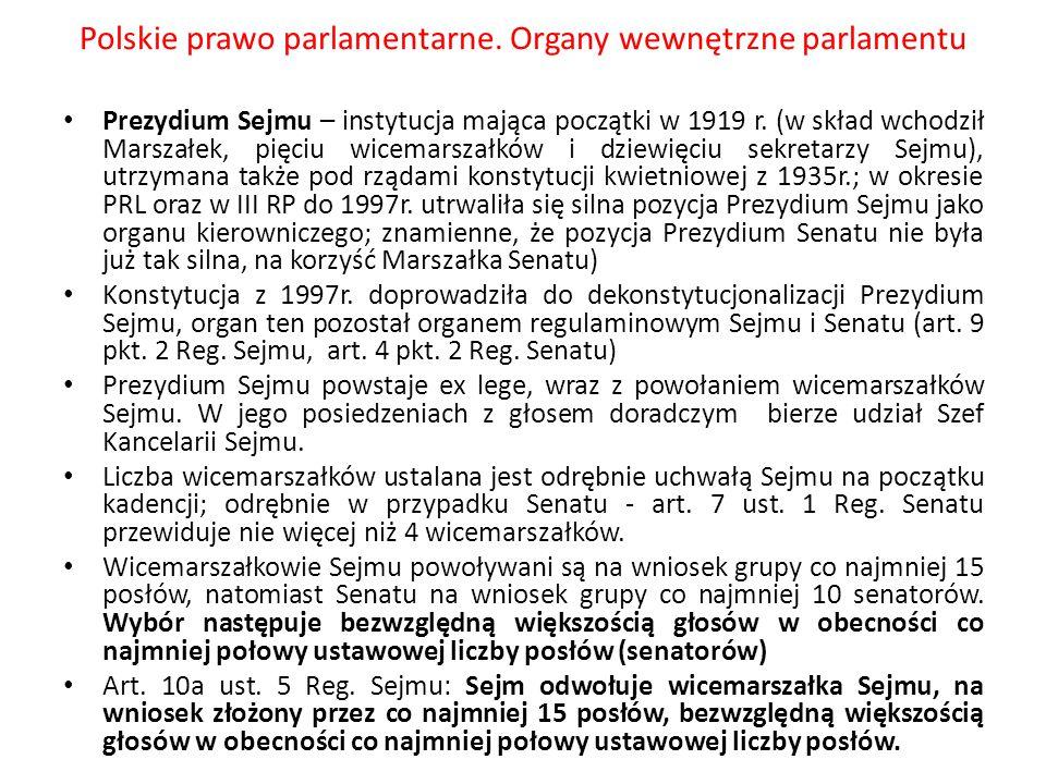 Polskie prawo parlamentarne. Organy wewnętrzne parlamentu Prezydium Sejmu – instytucja mająca początki w 1919 r. (w skład wchodził Marszałek, pięciu w