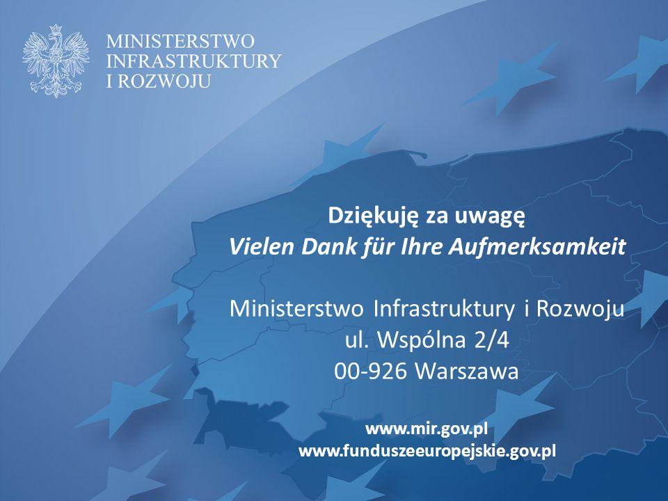 Dziękuję za uwagę Vielen Dank für Ihre Aufmerksamkeit Ministerstwo Infrastruktury i Rozwoju ul.