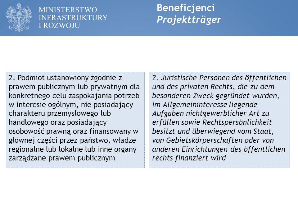 Beneficjenci Projektträger 3.Organizacja pozarządowa non-profit posiadająca osobowość prawną.