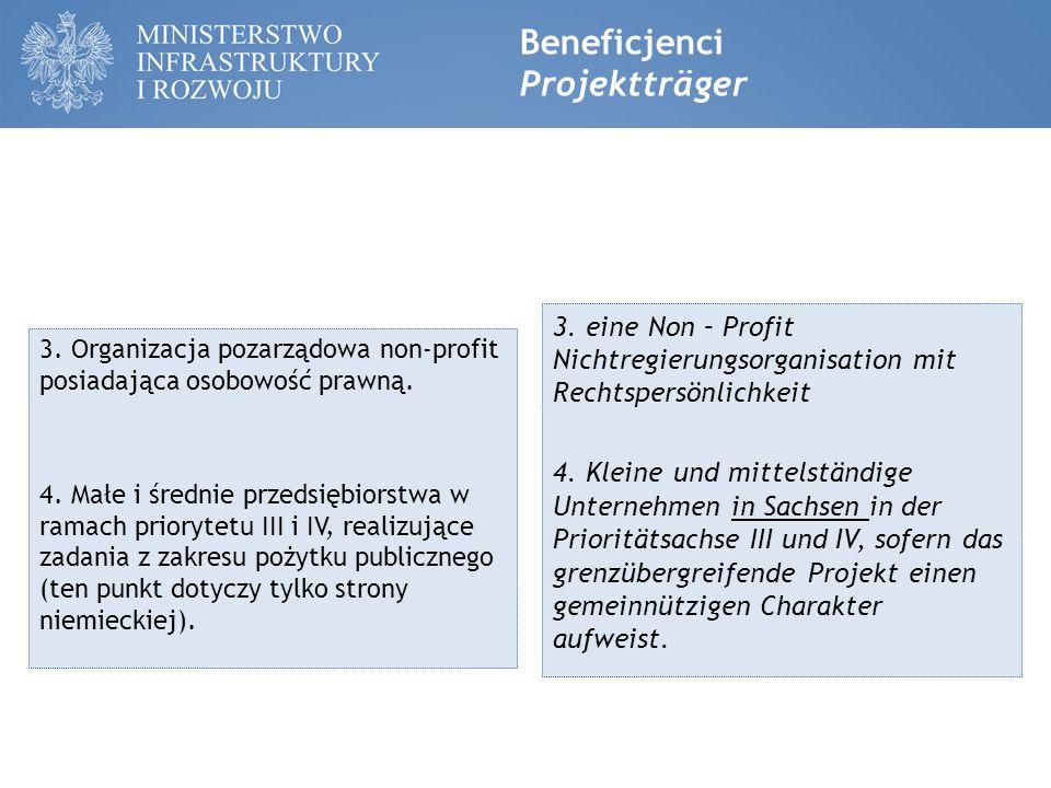 Beneficjenci Projektträger 3. Organizacja pozarządowa non-profit posiadająca osobowość prawną.