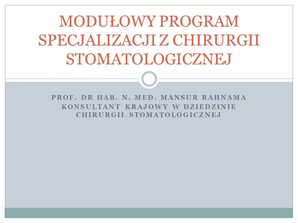 Opracowanie nowych programów specjalizacji jest związane z wejściem w życie ustawy z 28 kwietnia 2011 roku o zmianie ustawy o zawodach lekarza i lekarza dentysty (Dz.