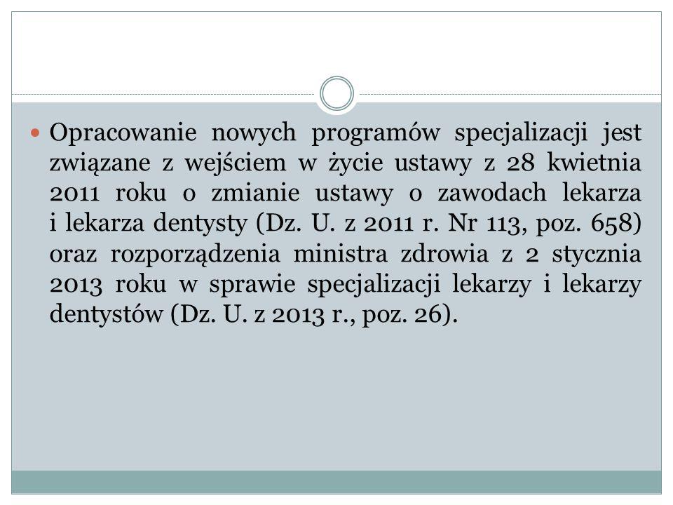 Opracowanie nowych programów specjalizacji jest związane z wejściem w życie ustawy z 28 kwietnia 2011 roku o zmianie ustawy o zawodach lekarza i lekar