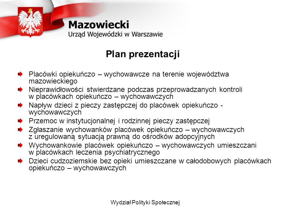 Wydział Polityki Społecznej Plan prezentacji Placówki opiekuńczo – wychowawcze na terenie województwa mazowieckiego Nieprawidłowości stwierdzane podcz