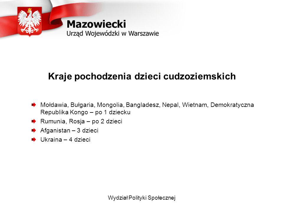 Wydział Polityki Społecznej Kraje pochodzenia dzieci cudzoziemskich Mołdawia, Bułgaria, Mongolia, Bangladesz, Nepal, Wietnam, Demokratyczna Republika