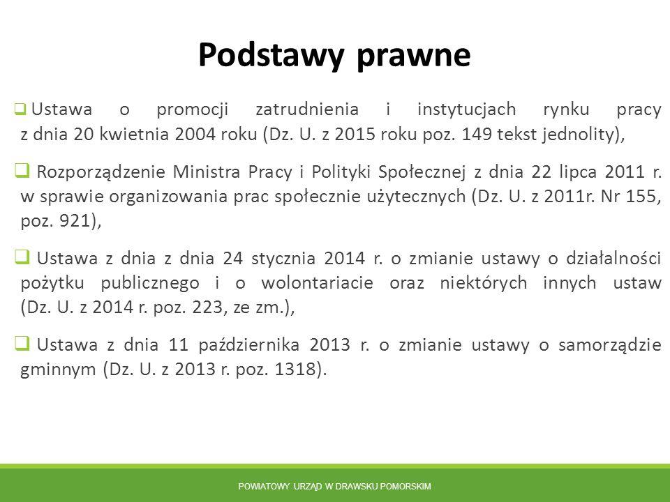 POWIATOWY URZĄD W DRAWSKU POMORSKIM  Ustawa o promocji zatrudnienia i instytucjach rynku pracy z dnia 20 kwietnia 2004 roku (Dz. U. z 2015 roku poz.