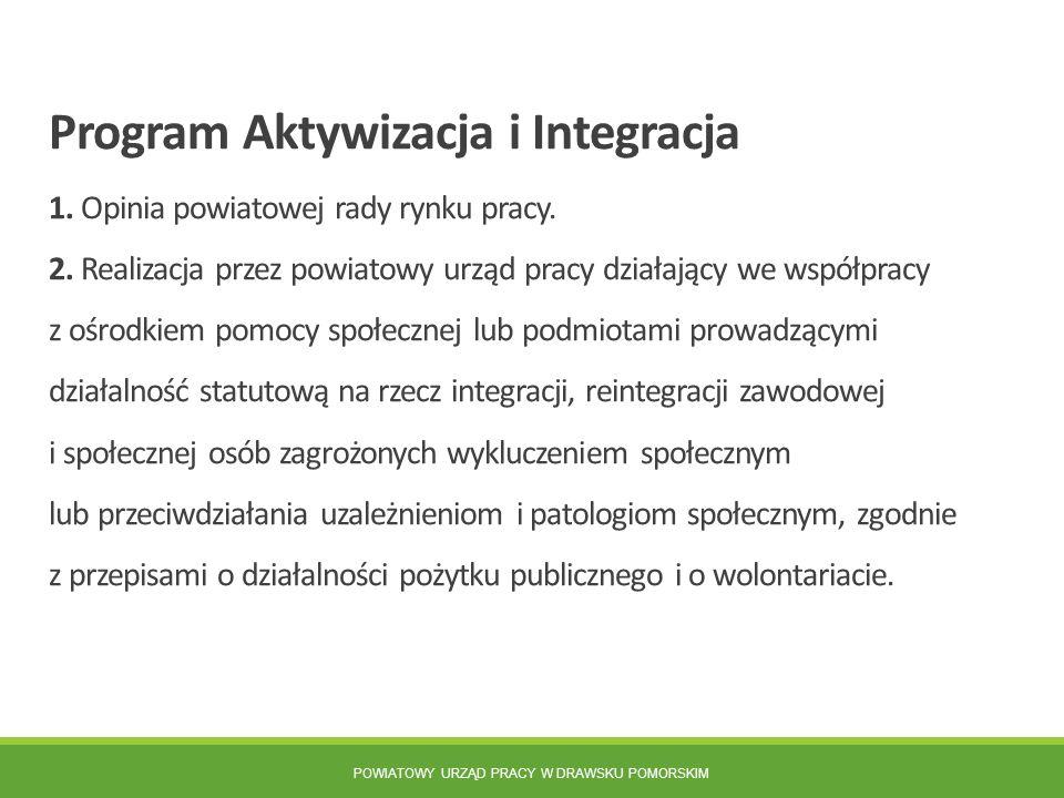 POWIATOWY URZĄD PRACY W DRAWSKU POMORSKIM Program Aktywizacja i Integracja 1. Opinia powiatowej rady rynku pracy. 2. Realizacja przez powiatowy urząd
