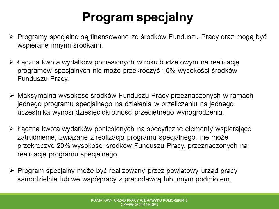POWIATOWY URZĄD PRACY W DRAWSKU POMORSKIM 5 CZERWCA 2014 ROKU Program specjalny  Programy specjalne są finansowane ze środków Funduszu Pracy oraz mog
