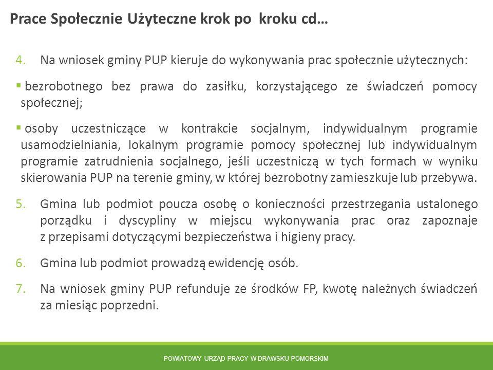 POWIATOWY URZĄD PRACY W DRAWSKU POMORSKIM 4.Na wniosek gminy PUP kieruje do wykonywania prac społecznie użytecznych:  bezrobotnego bez prawa do zasił