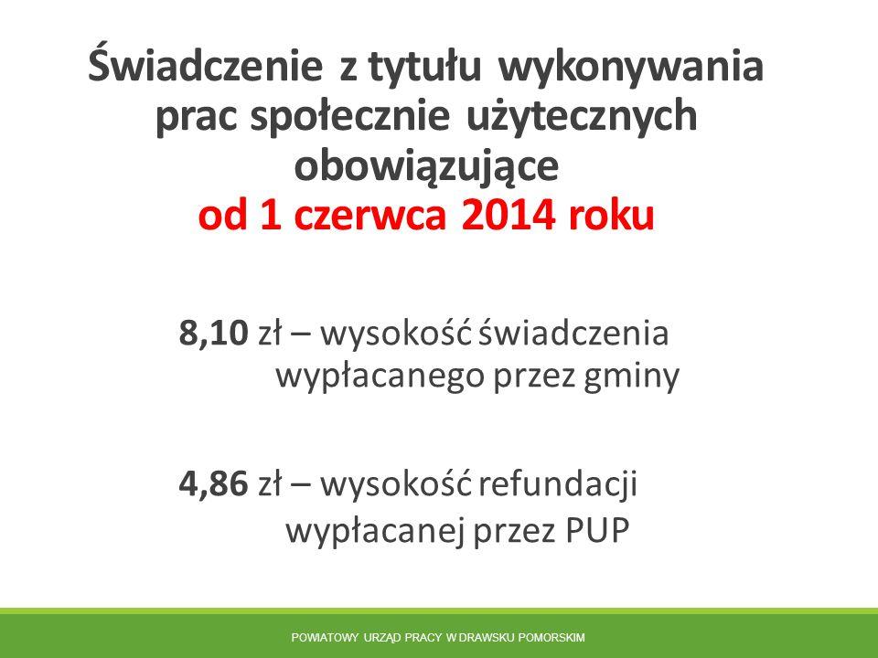 POWIATOWY URZĄD PRACY W DRAWSKU POMORSKIM Świadczenie z tytułu wykonywania prac społecznie użytecznych obowiązujące od 1 czerwca 2014 roku 8,10 zł – w