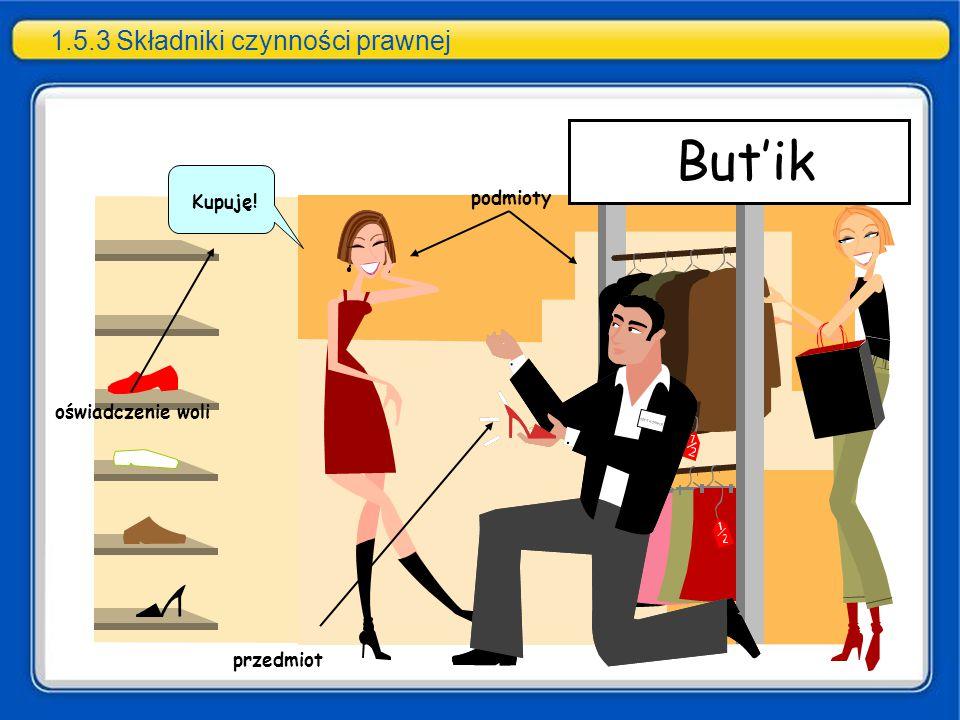 1.5.3 Składniki czynności prawnej podmioty przedmiot Kupuję! oświadczenie woli But'ik