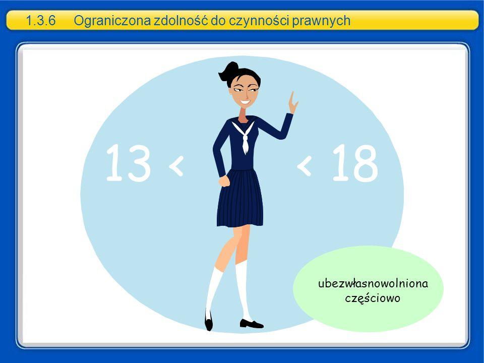 13 < < 18 1.3.6Ograniczona zdolność do czynności prawnych ubezwłasnowolniona częściowo