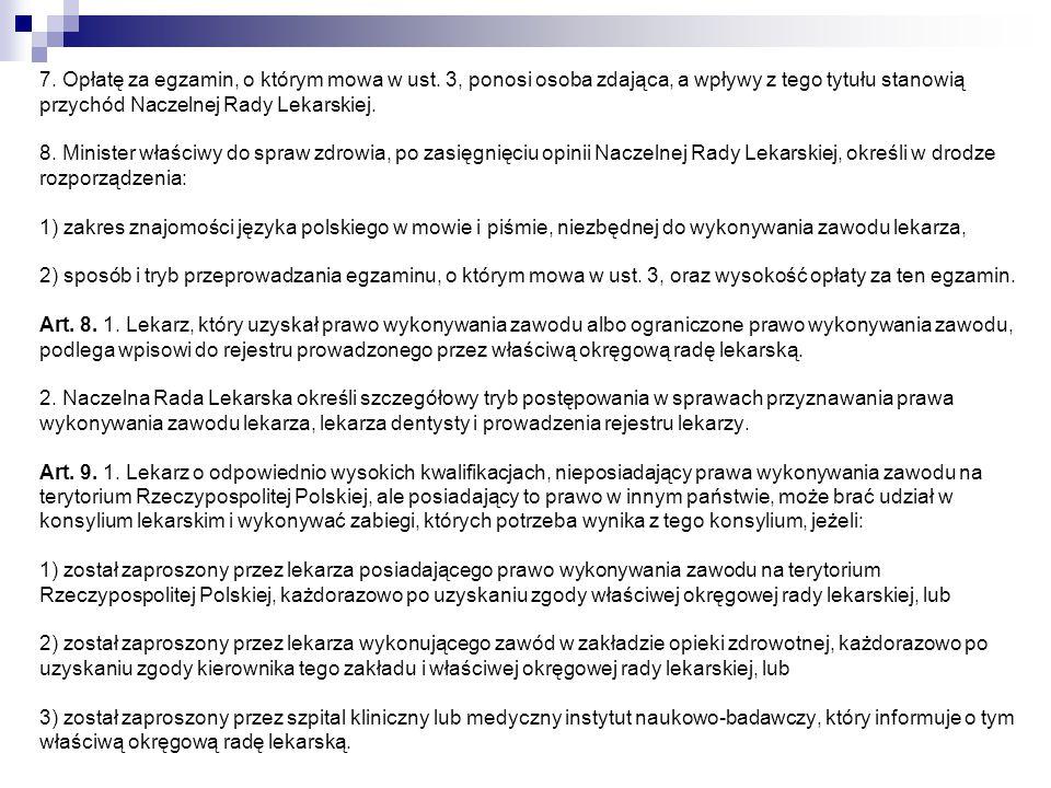 7. Opłatę za egzamin, o którym mowa w ust. 3, ponosi osoba zdająca, a wpływy z tego tytułu stanowią przychód Naczelnej Rady Lekarskiej. 8. Minister wł