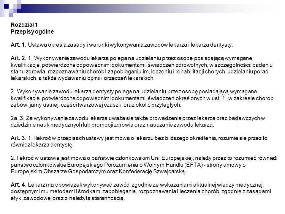 Rozdział 2 Prawo wykonywania zawodu lekarza Art.5.