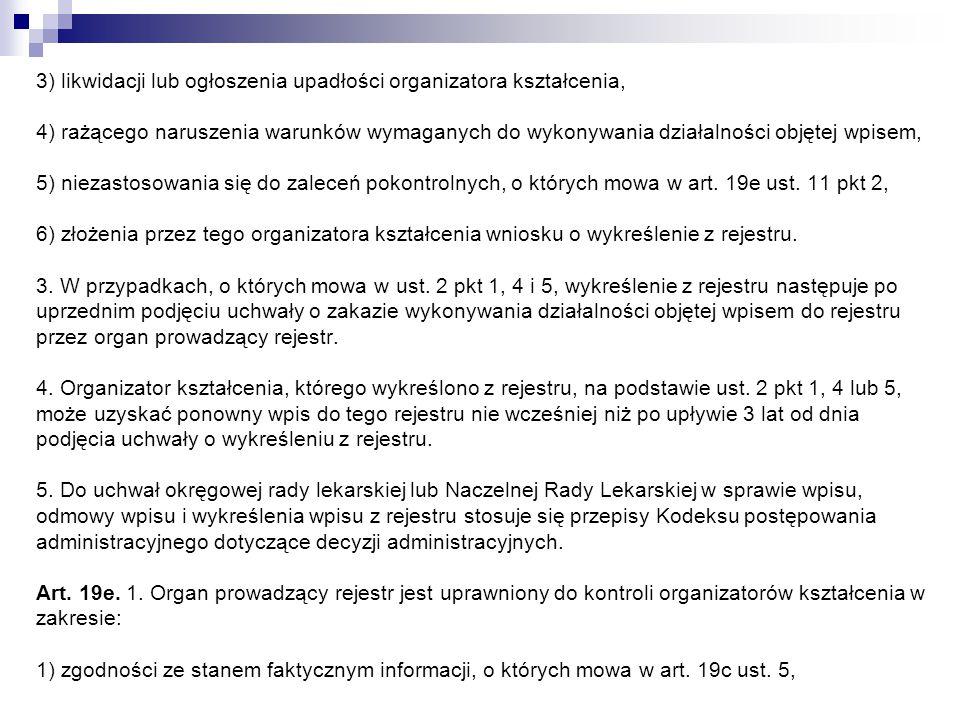 3) likwidacji lub ogłoszenia upadłości organizatora kształcenia, 4) rażącego naruszenia warunków wymaganych do wykonywania działalności objętej wpisem