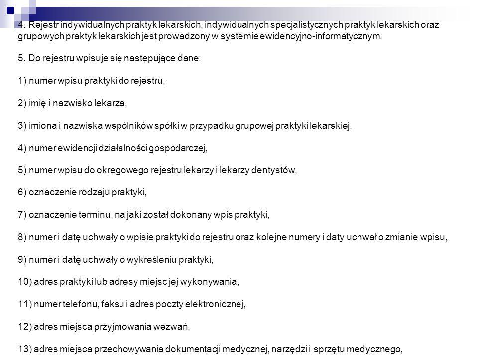 4. Rejestr indywidualnych praktyk lekarskich, indywidualnych specjalistycznych praktyk lekarskich oraz grupowych praktyk lekarskich jest prowadzony w