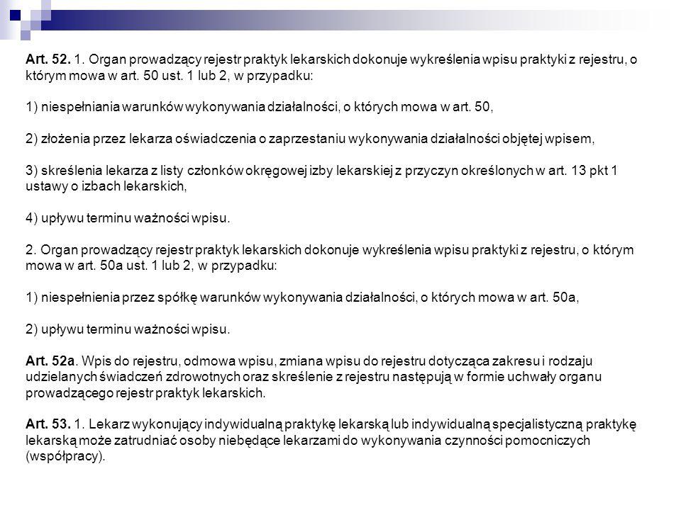 Art. 52. 1. Organ prowadzący rejestr praktyk lekarskich dokonuje wykreślenia wpisu praktyki z rejestru, o którym mowa w art. 50 ust. 1 lub 2, w przypa