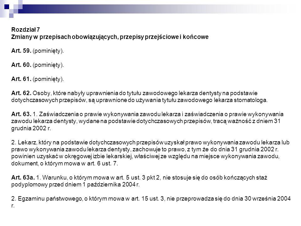 Rozdział 7 Zmiany w przepisach obowiązujących, przepisy przejściowe i końcowe Art. 59. (pominięty). Art. 60. (pominięty). Art. 61. (pominięty). Art. 6