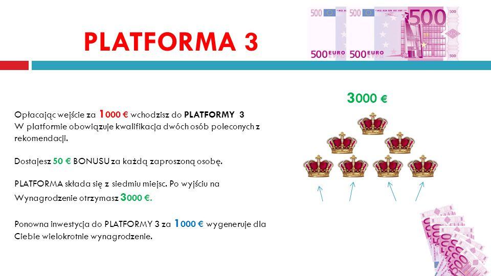 PLATFORMA 3 3 000 € Opłacając wejście za 1 000 € wchodzisz do PLATFORMY 3 W platformie obowiązuje kwalifikacja dwóch osób poleconych z rekomendacji.