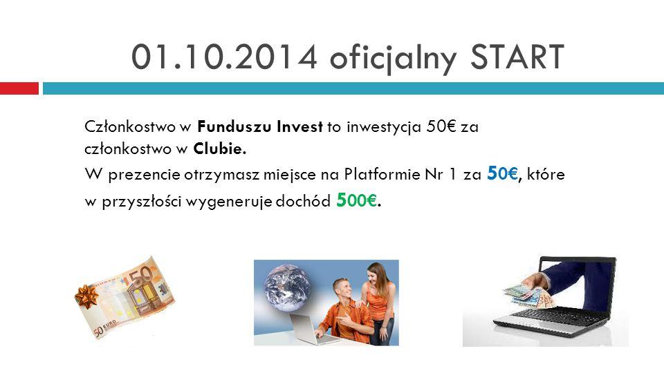 01.10.2014 oficjalny START Członkostwo w Funduszu Invest to inwestycja 50€ za członkostwo w Clubie.