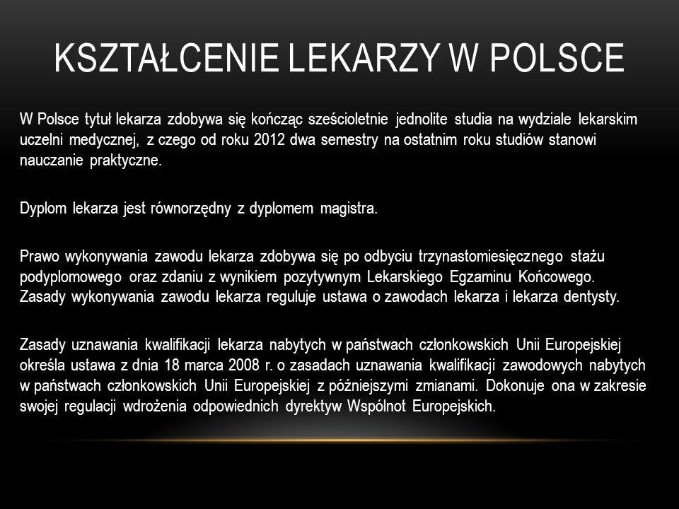 KSZTAŁCENIE LEKARZY W POLSCE W Polsce tytuł lekarza zdobywa się kończąc sześcioletnie jednolite studia na wydziale lekarskim uczelni medycznej, z czeg