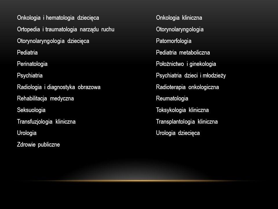 Onkologia i hematologia dziecięcaOnkologia kliniczna Ortopedia i traumatologia narządu ruchuOtorynolaryngologia Otorynolaryngologia dziecięcaPatomorfo