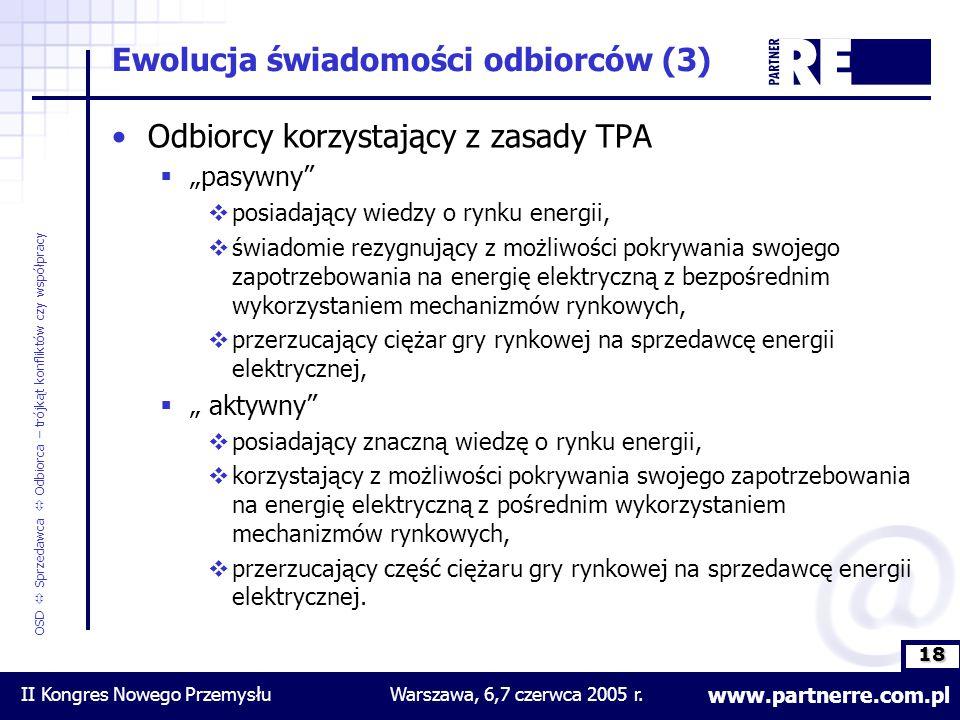 18 www.partnerre.com.pl OSD  Sprzedawca  Odbiorca – trójkąt konfliktów czy współpracy II Kongres Nowego PrzemysłuWarszawa, 6,7 czerwca 2005 r.