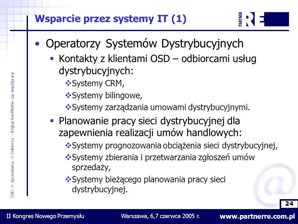 24 www.partnerre.com.pl OSD  Sprzedawca  Odbiorca – trójkąt konfliktów czy współpracy II Kongres Nowego PrzemysłuWarszawa, 6,7 czerwca 2005 r.