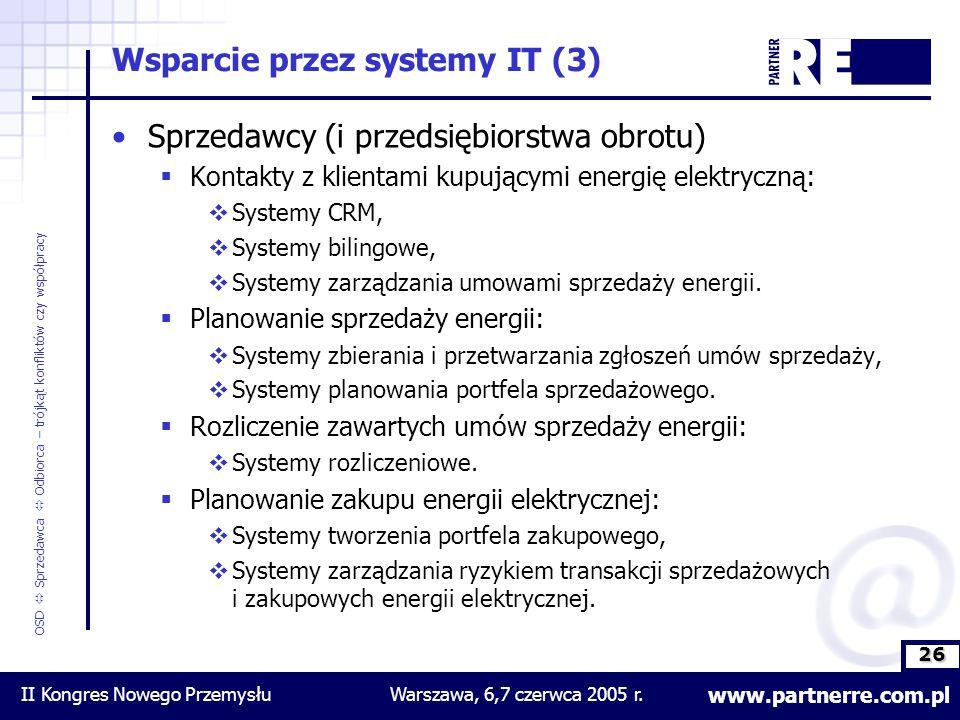 26 www.partnerre.com.pl OSD  Sprzedawca  Odbiorca – trójkąt konfliktów czy współpracy II Kongres Nowego PrzemysłuWarszawa, 6,7 czerwca 2005 r.