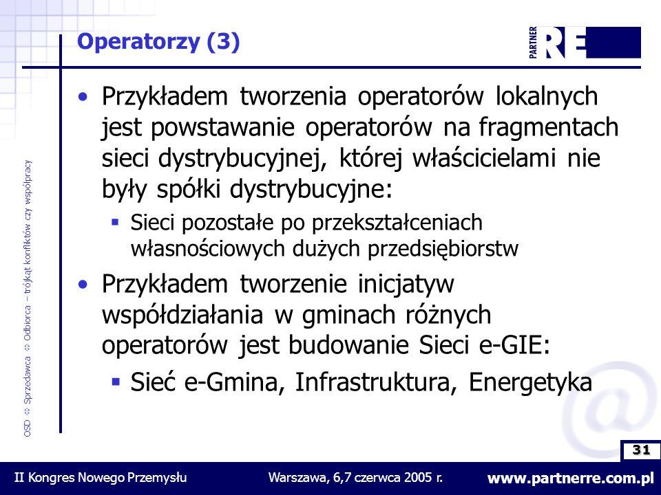 31 www.partnerre.com.pl OSD  Sprzedawca  Odbiorca – trójkąt konfliktów czy współpracy II Kongres Nowego PrzemysłuWarszawa, 6,7 czerwca 2005 r.