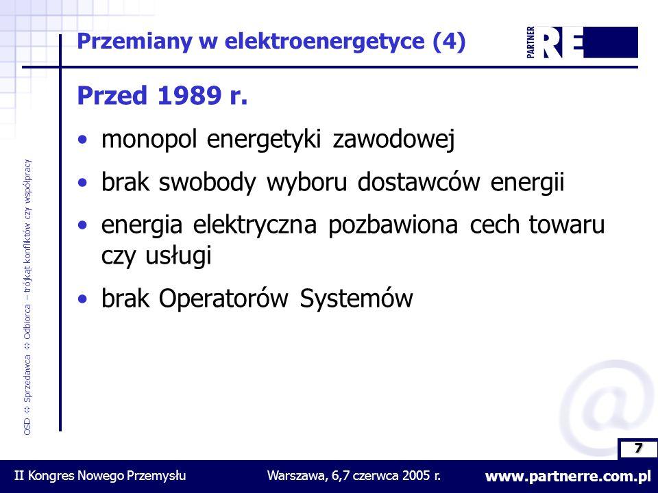 8 www.partnerre.com.pl OSD  Sprzedawca  Odbiorca – trójkąt konfliktów czy współpracy II Kongres Nowego PrzemysłuWarszawa, 6,7 czerwca 2005 r.