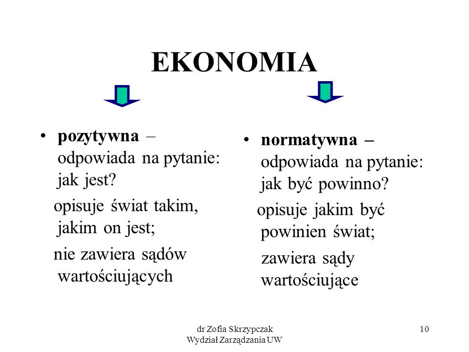 dr Zofia Skrzypczak Wydział Zarządzania UW 10 EKONOMIA pozytywna – odpowiada na pytanie: jak jest? opisuje świat takim, jakim on jest; nie zawiera sąd