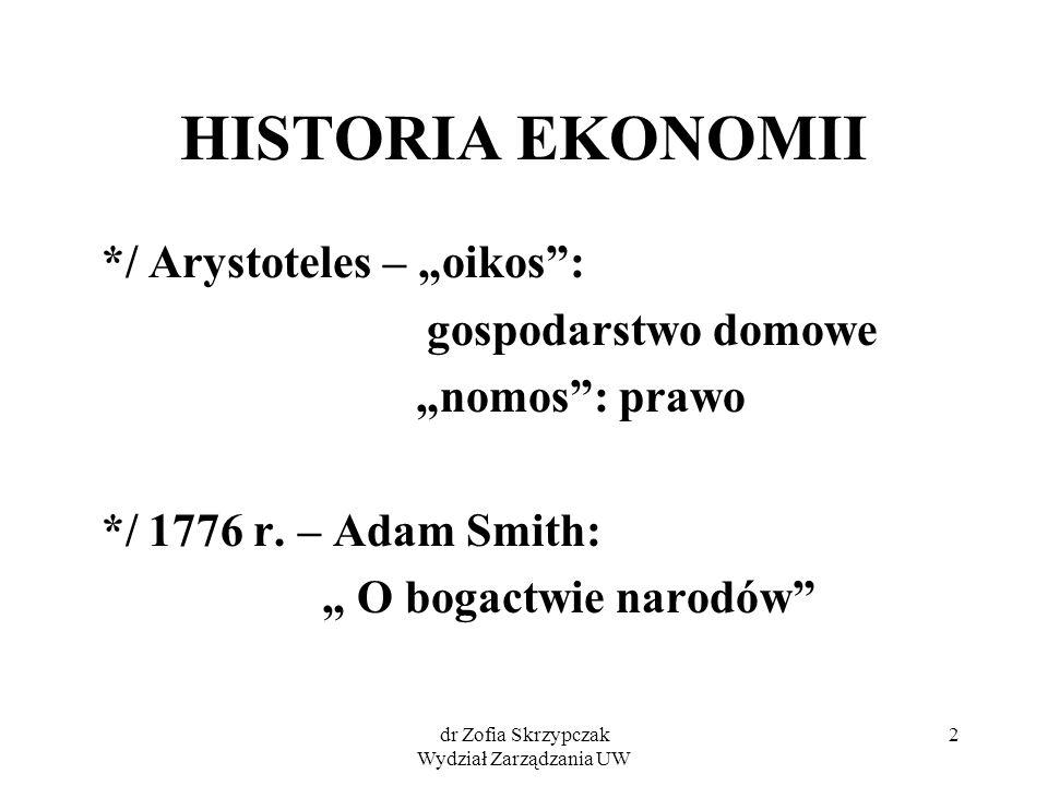 """dr Zofia Skrzypczak Wydział Zarządzania UW 2 HISTORIA EKONOMII */ Arystoteles – """"oikos"""": gospodarstwo domowe """"nomos"""": prawo */ 1776 r. – Adam Smith: """""""