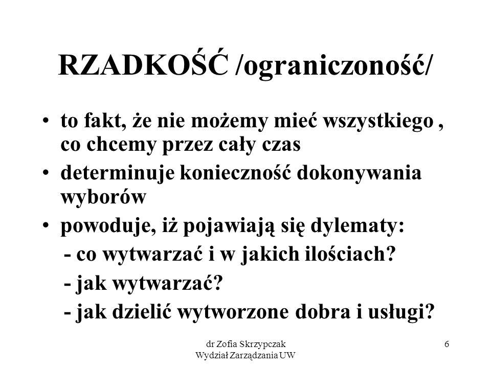 dr Zofia Skrzypczak Wydział Zarządzania UW 7 POTRZEBY są nieograniczone do ich zaspokojenia niezbędna jest produkcja: - dóbr konsumpcyjnych - dóbr produkcyjnych /inwestycyjnych/