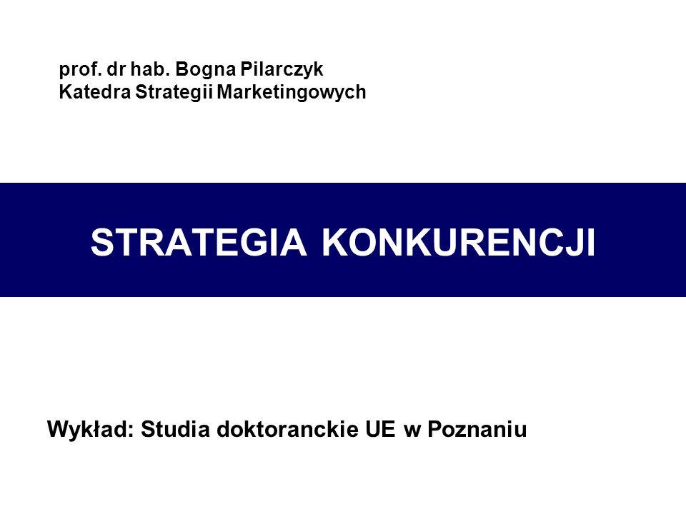prof. dr hab. Bogna Pilarczyk Katedra Strategii Marketingowych STRATEGIA KONKURENCJI Wykład: Studia doktoranckie UE w Poznaniu