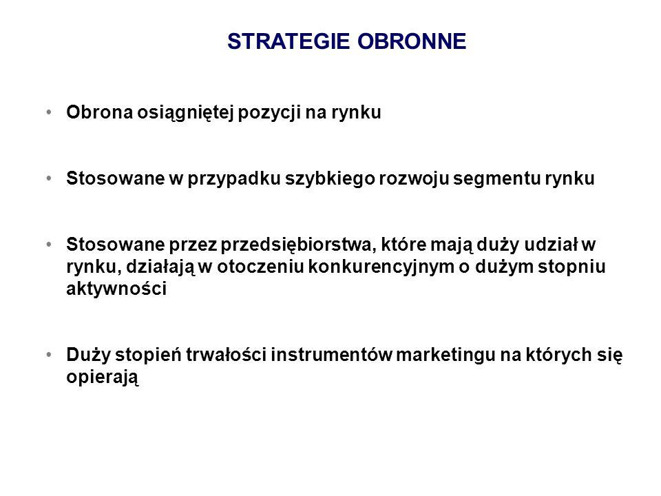 STRATEGIE OBRONNE Obrona osiągniętej pozycji na rynku Stosowane w przypadku szybkiego rozwoju segmentu rynku Stosowane przez przedsiębiorstwa, które m