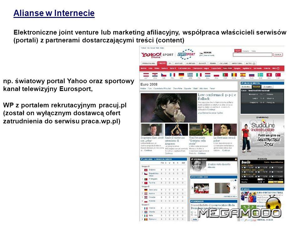 Alianse w Internecie Elektroniczne joint venture lub marketing afiliacyjny, współpraca właścicieli serwisów (portali) z partnerami dostarczającymi tre