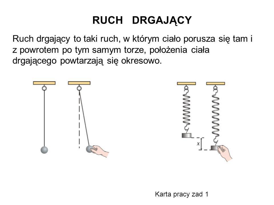 RUCH DRGAJĄCY Ruch drgający to taki ruch, w którym ciało porusza się tam i z powrotem po tym samym torze, położenia ciała drgającego powtarzają się ok