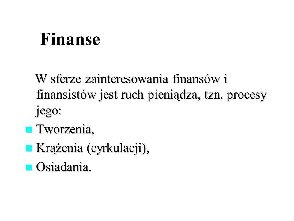 Finanse W sferze zainteresowania finansów i finansistów jest ruch pieniądza, tzn.