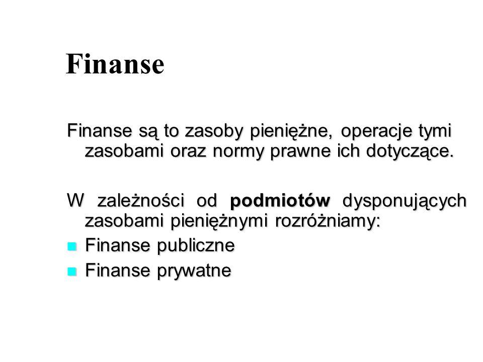 Finanse Finanse są to zasoby pieniężne, operacje tymi zasobami oraz normy prawne ich dotyczące.