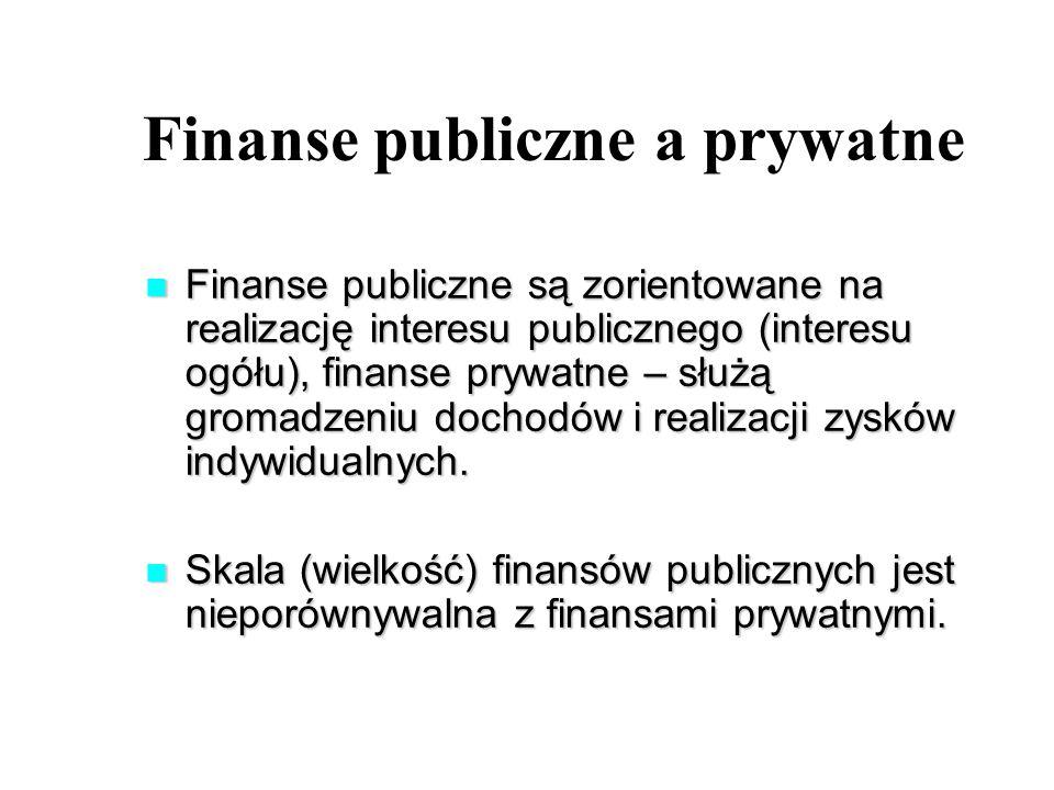 Finanse publiczne a prywatne Finanse publiczne są zorientowane na realizację interesu publicznego (interesu ogółu), finanse prywatne – służą gromadzeniu dochodów i realizacji zysków indywidualnych.